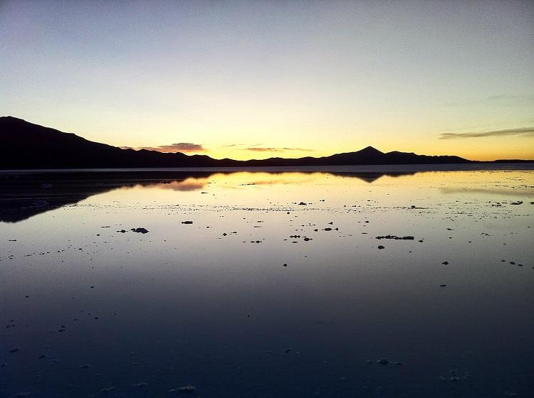 Sunset on Salar de Uyuni Bolivia